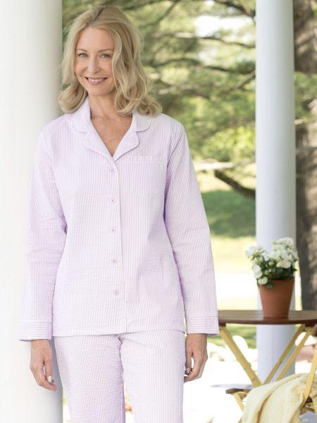 Womens Cotton Seersucker Pajamas - Classic Stiped PJs b32683231
