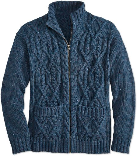 Mens Full Zip Cable Knit Sweater Vermont Country Store
