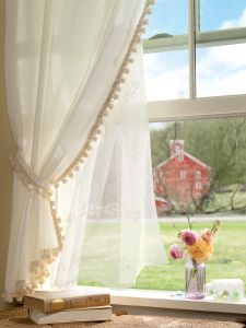 Clic Ball Fringe Rod Pocket Curtains And Tiers
