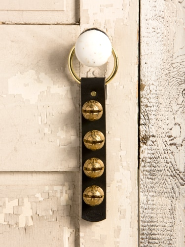 Leather Door Strap With 4 Brass Sleigh Bells