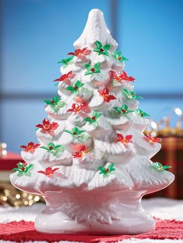Vintage White Ceramic Christmas Tree.Red Poinsettia Christmas Bulbs