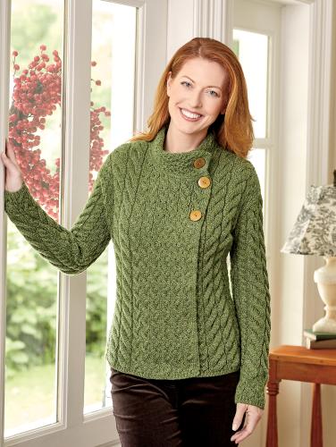 cc7b67562b3 Women's Irish Supersoft Wool Asymmetrical Cardigan