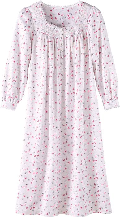 Eileen West Brushed Back Satin Nightgown with Rose Print f8ea436f3