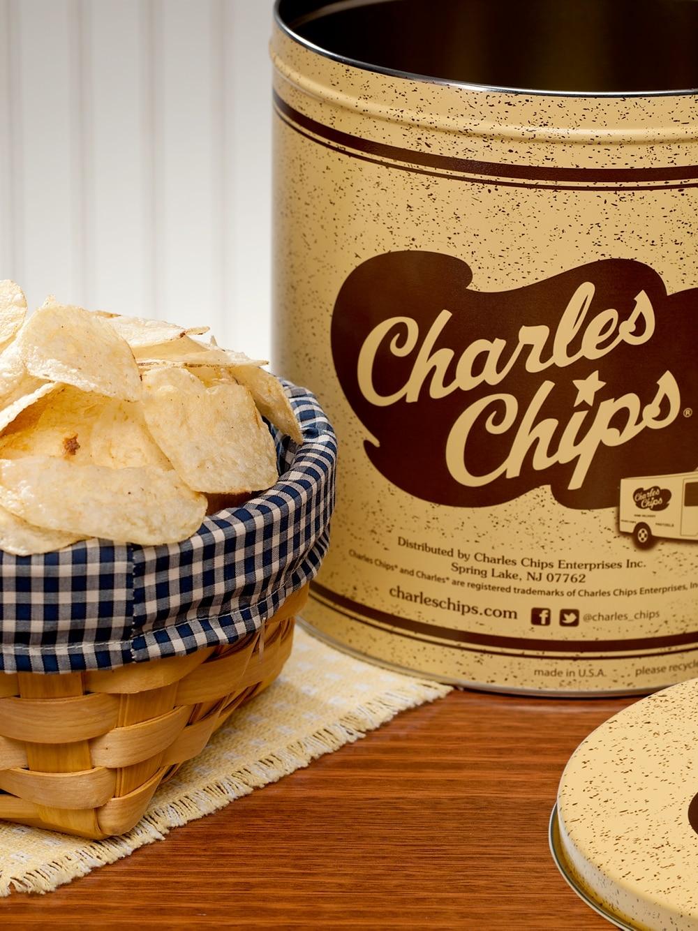 Charles Chips Potato Chip Tin, 1 Pound