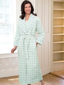 fd999feaee Womens Cotton Percale Wrap Robe With Shawl Collar