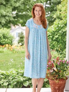Eileen West Blue Flowers Nightgown 59a830817
