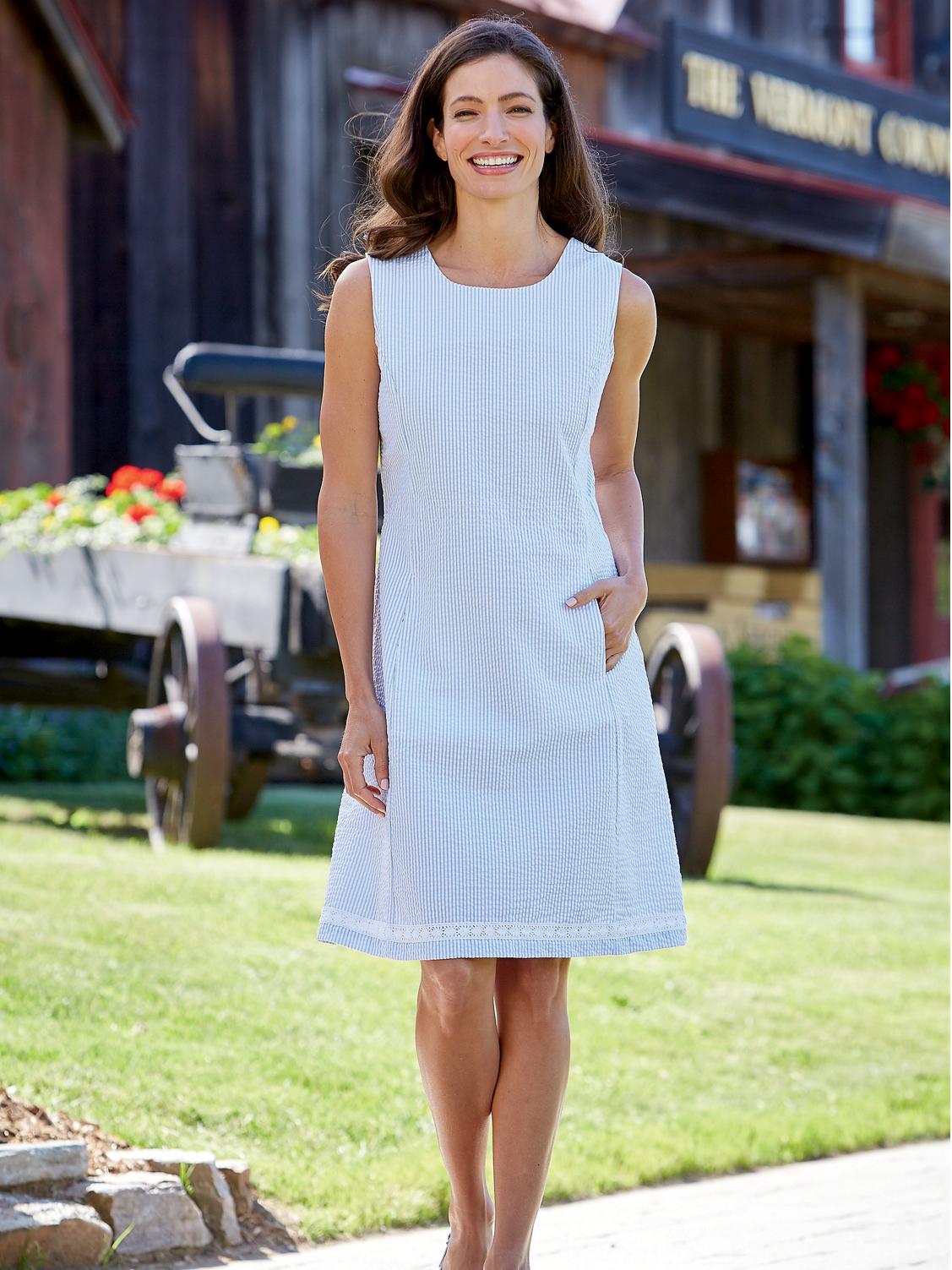 Sleeveless Seersucker Dress With Crochet Trim