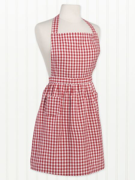 Frilly Red Check Apron