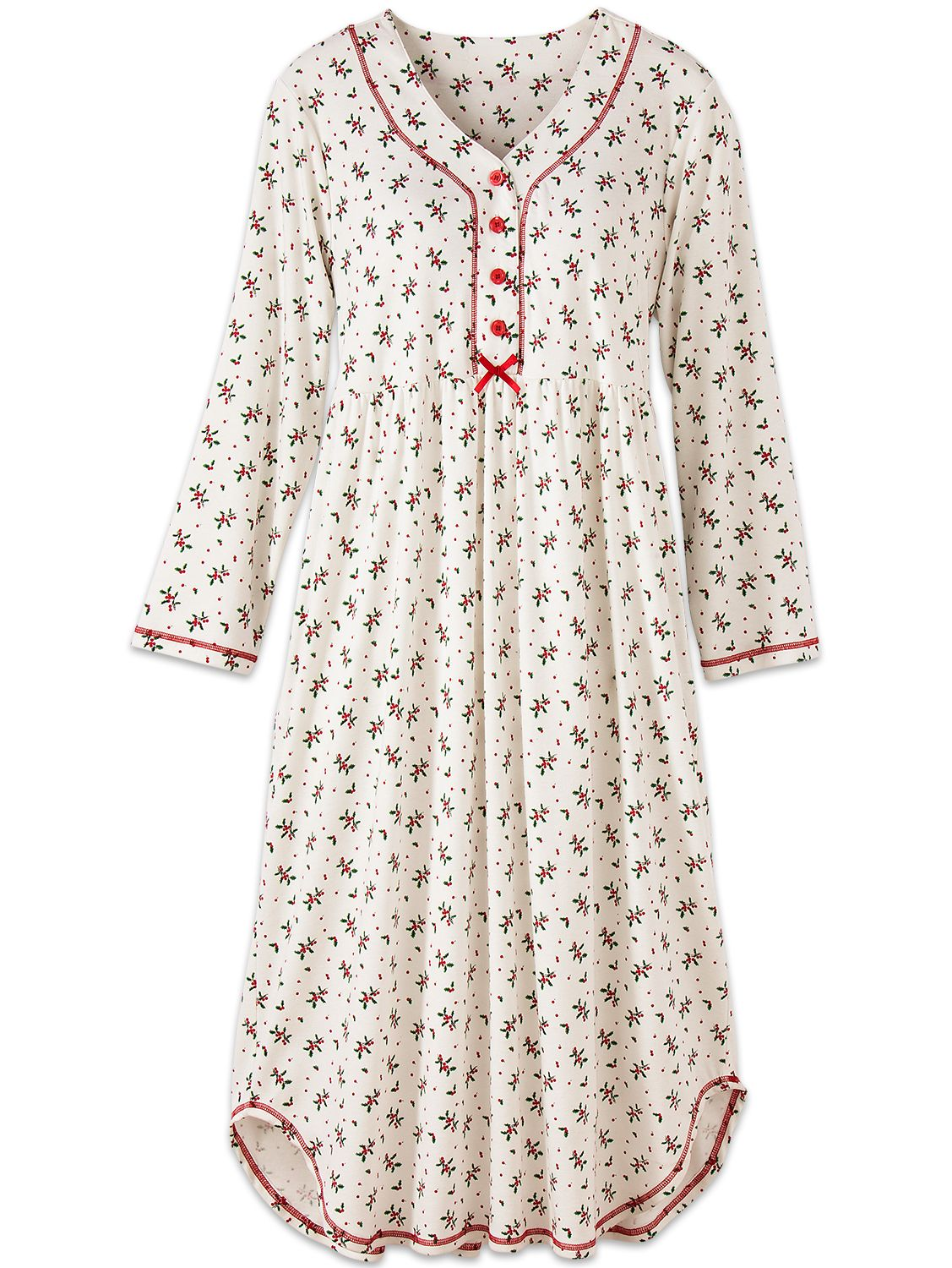 9abb5b8186 Cotton Knit Nightgown With Holly Berry Print   Holiday Nightdress