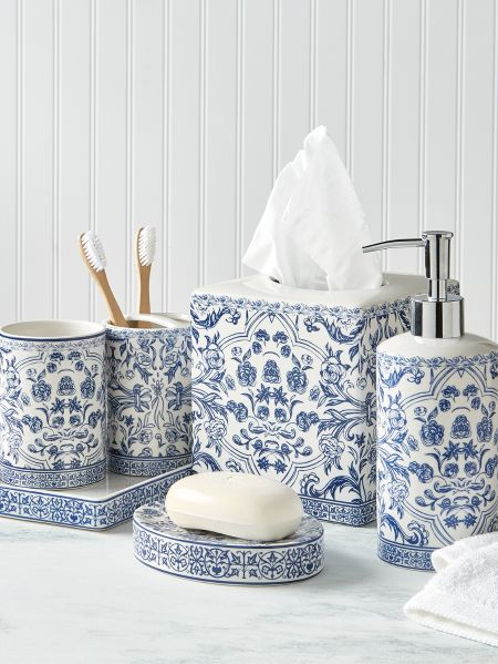 Porcelain Blue Toile Bathroom Accessory Collection