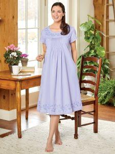 4848e693db Ella Simone Embroidered Cap Sleeve Nightgown
