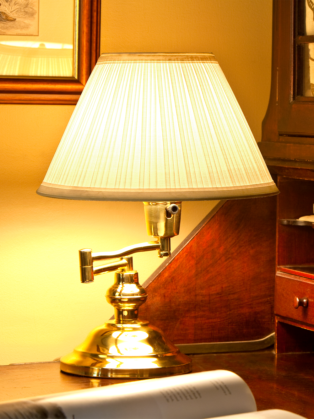 Swing Arm Table Lamp Brass Finish 3 Way Switch