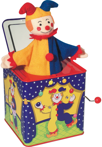 Musical Toy Jack In The Box Classic Tin Box With Cloth Jester