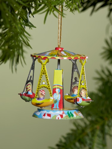 Tin Toy Christmas Ornaments, Set of 2