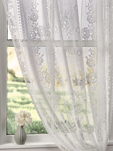 Floral Lace Rod Pocket Window Curtain Panel Garden Rose