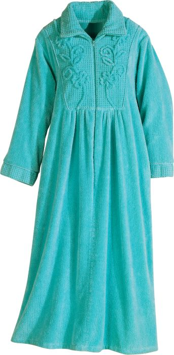Womens Chenille Robe | Zip-Front Bathrobe with Pockets