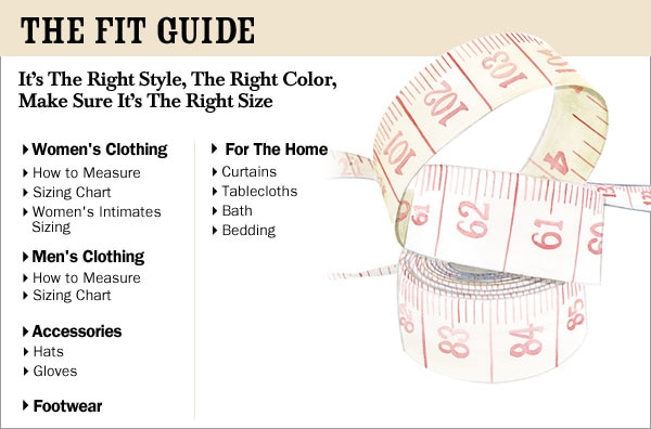 The Vermont Country Store Fit Guide Size Chart For Clothing