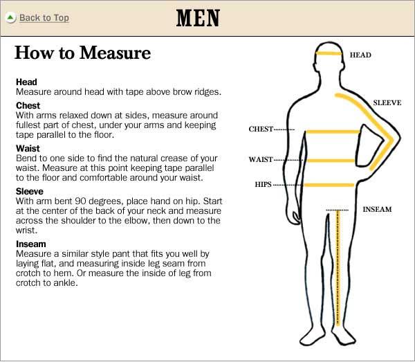 Waist Measurement Men Pants
